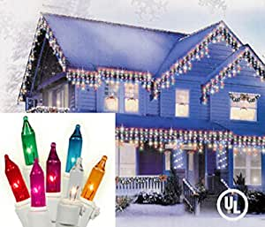 Set of 100 Multi-Colored Mini Icicle Christmas Lights - White Wire
