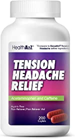 HealthA2Z Tension Headache Relief, Aspirin Free, Compare to Excedrin Active Ingredient,