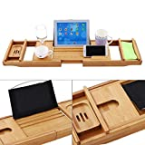 Elopea Natural Bamboo Bathtub Caddy Tray Extendable Luxury Spa Organizer Over Bath Tray for Tub with Book, Tablet, Phone, Wine Glass Holder and Other Accessories Placement (Bamboo)