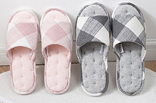 Cattior Mens Plaid Bedroom Slippers House Slippers Gray oippXD3