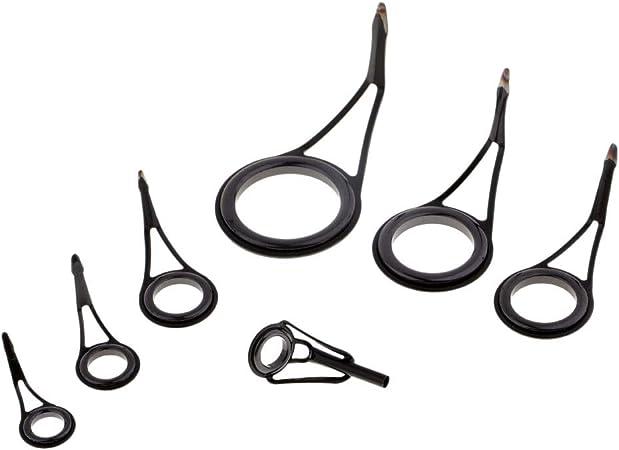 Baosity 7pcs Tangle Free Fishing Rod Guides Single Leg Fishing Rod Parts Eye Rings 7 Sizes Black /& Silver