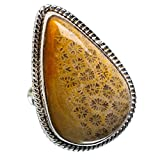Huge Fossil Coral Ring Size 7.5 (925 Sterling Silver) - Handmade Jewelry RING870951