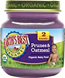 Earth's Best Organic Stage 2 Baby Food, Prunes & Oatmeal, 4 Ounce Jars, Pack of 12