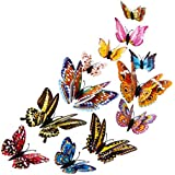 Yuelove Fashion 12pcs 3D Butterfly Design Decal Art Wall Stickers Room Magnetic Home Decor Art Applique (multicolor, 12PC)