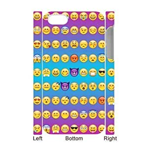 Custom Hard Plastic Back 3D Case Cover for iPhone 4,4S with Unique Design Funny Emoji Face