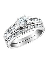 Diamond Engagement Ring and Wedding Band Set 1/2 Carat (ctw) in 10K White Gold