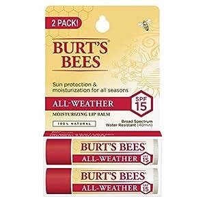 Burt's Bees 100% Natural Moisturizing Lip Balm, Original Beeswax with Vitamin E & Peppermint Oil – 2 Tubes
