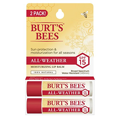 Lips Lip Balm (Burt's Bees 100% Natural All-Weather SPF15 Moisturizing Lip Balm, 2 Count)