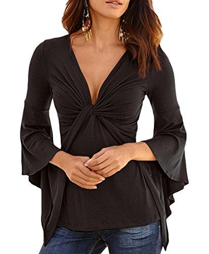 Anmengte Women Casual Bell Long-Sleeve V-Neck Slim Waist Top Irregular Blouse (L, Black)