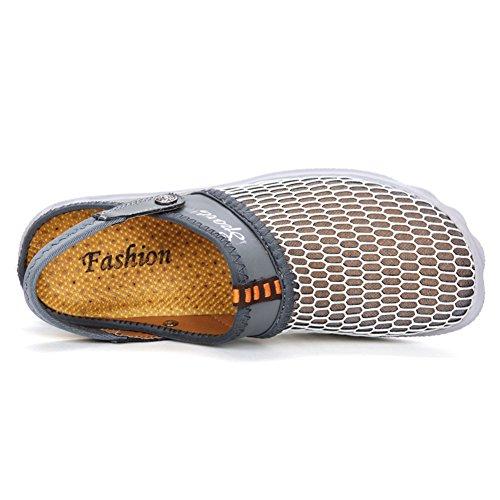 Fires Hombres Summer Transpirable Sandalias De Malla Acolchada Beach Zapatos Cerrados De Pie Deslizamiento Slip-on Zapatillas Gris