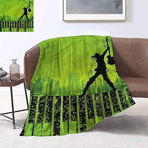 HCCJLCKS Super Soft Blankets Popstar Party Music in The City Print Artwork W60 xL80 Traveling,Hiking,Camping,Full Queen,TV,Cabin ()