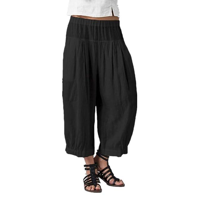 Amazon.com: JOFOW Pantalones para mujer Harem Casual Sólido ...