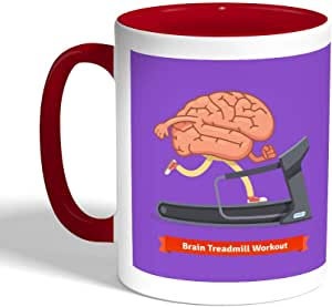 كوب سيراميك للقهوة بتصميم رياضي - نشط دماغك ، لون احمر