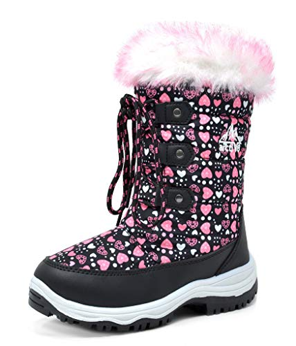 DREAM PAIRS Little Kid Nordic Black Pink Ankle Winter Snow Boots Size 1 M US Little Kid