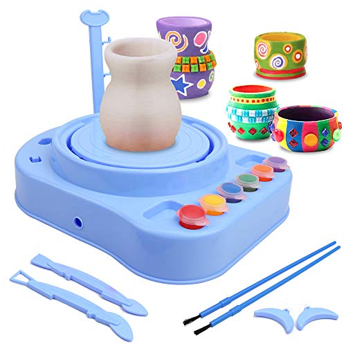 IAMGlobal Pottery Wheel, Pottery Studio, Craft Kit, Artist Studio, Ceramic Machine with Clay, Educational Toy for Kids Beginners (Blue)