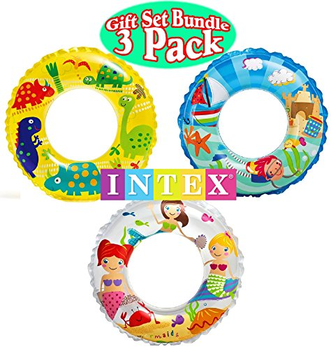 nsparent Swim Rings Dinosaurs,Mermaid Andbeach Gift Set Bundle-3 Pack ()
