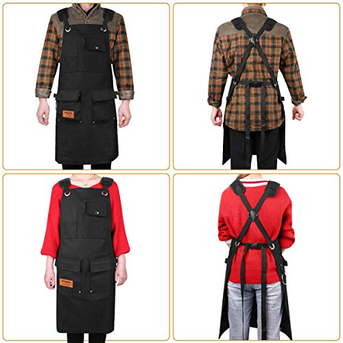 Aeegulle Work Apron, Heavy Duty Waxed Canvas Tool Apron (With work gloves), 6 Pockets, Thick shoulder pad, Quick Release Buckle, Cross-Back Straps Adjustable M to XXL, Apron for Men & Women(black) by Aeegulle (Image #1)