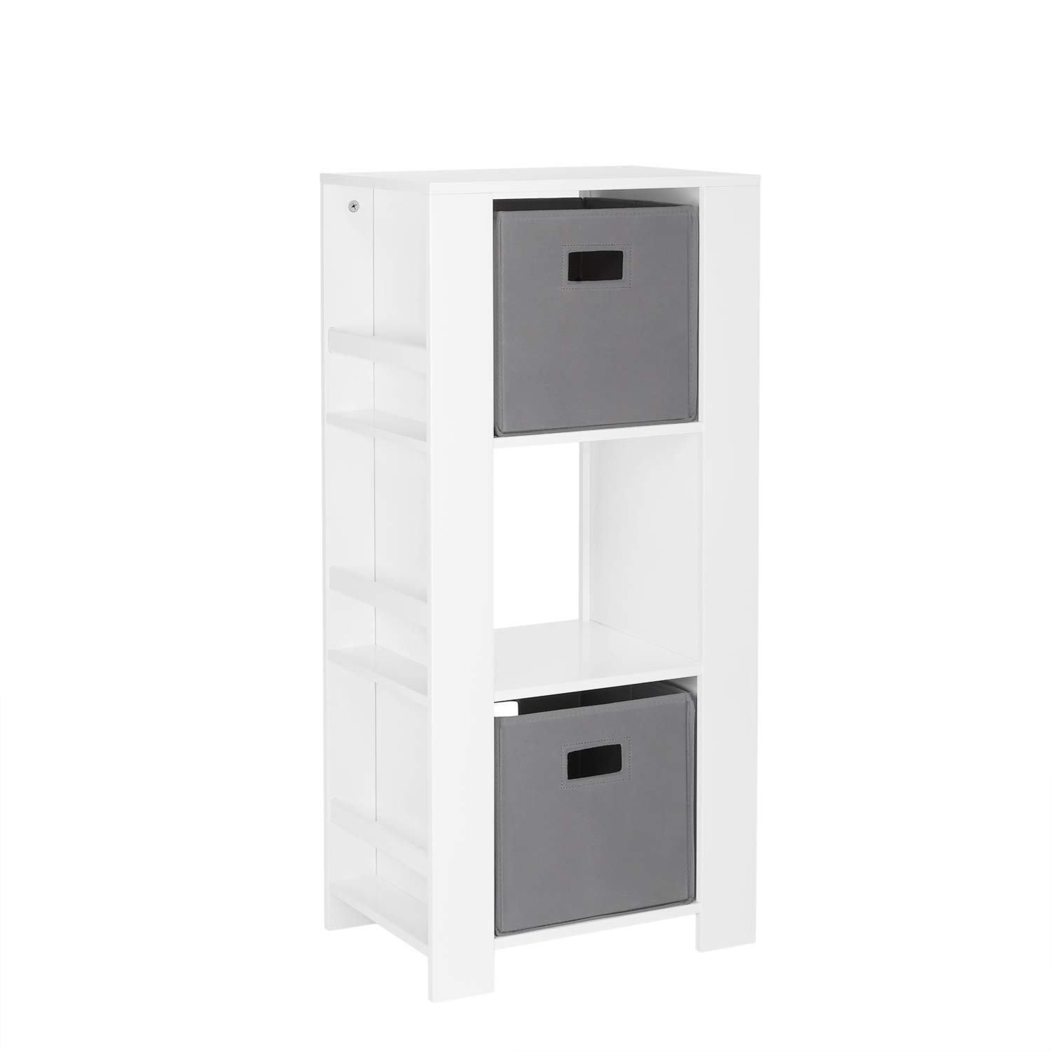 RiverRidge Home Book Nook Collection Kids Cubby Bookshelves with 2pc Storage Tower, White With Gray Bins