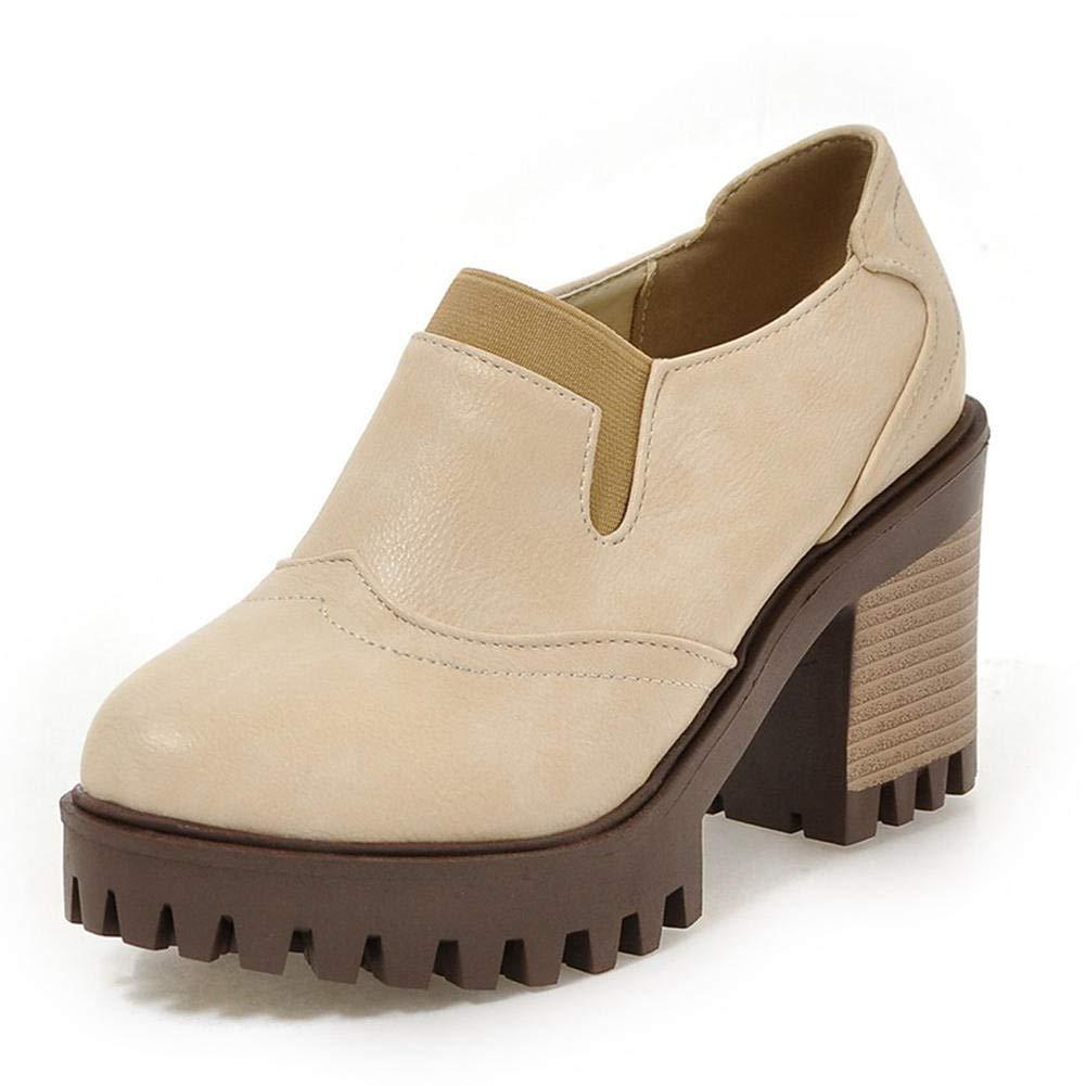 Ai Ya-liangxie 33-43 Plattform Square Heels Frau Pumpen Slip On Schwarz Grau Elegante Schuhe Frau Pumpen