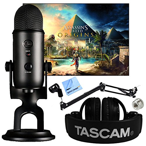 Blue Microphones Blackout Yeti With Assassins Creed Origins Digital Pc Version Plus Tascam Closed Back Headphones And Microphone Boom Scissor Arm Stand Bundle