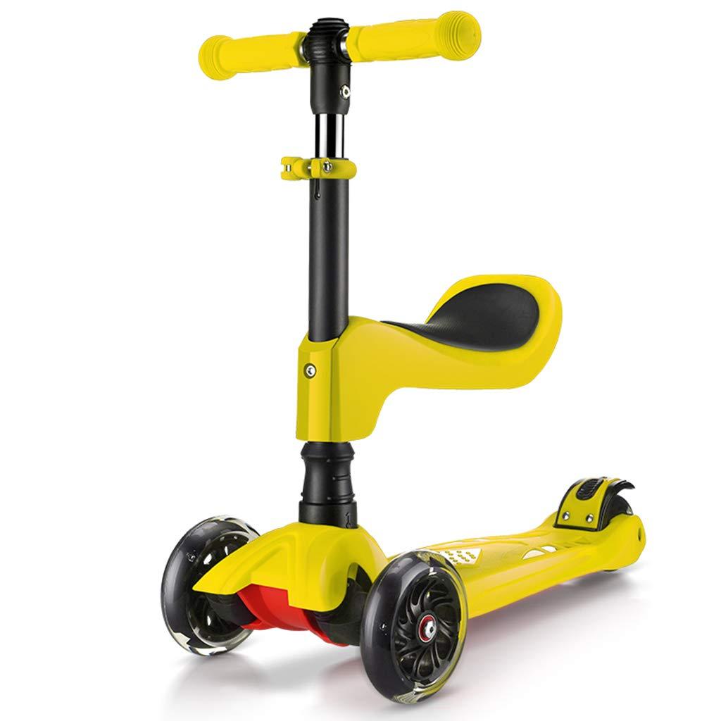 LiPengTaoShop Kickroller Kinderroller kann sitzen Vierradblitz Einstellbare abnehmbare Roller geeignet für Kinder 1-12 Jahre alt (Farbe   rot) Gelb