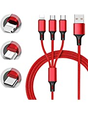 3-In-1 Usb Lightning Fast Charger, for Iphone, Android, Type-C Nylon Cord Braided Charging Cable, 3.9 Inches, Red