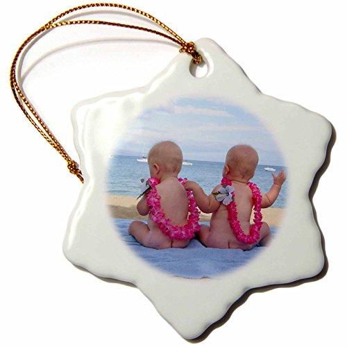 3dRose orn_89200_1 Hawaii, Maui. Twin babies enjoy The beach, children - US10 LHO0000 - Lisa Hoffner - Snowflake Ornament, Porcelain, 3-Inch by 3dRose