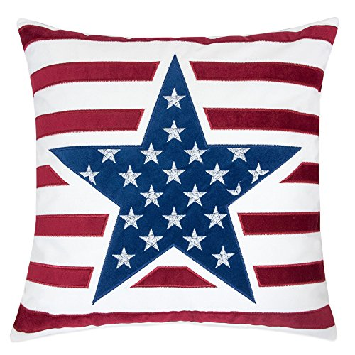 Homey Cozy American Flag Velvet Throw Pillow Cover,Patriotic Series Flag Star Large Sofa Couch Decorative Pillow Case for Independence Day 4th July Home Decor 20x20, Cover Only