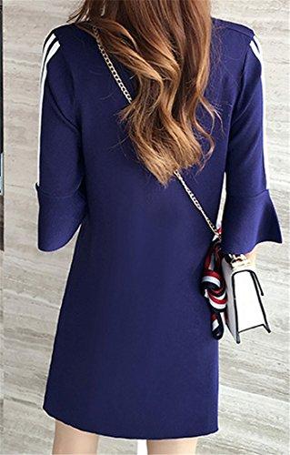 Stylish Women's Half Round Neck Striped Cromoncent Dark Midi Blue Sleeve Dress Flare t5qnWpwd