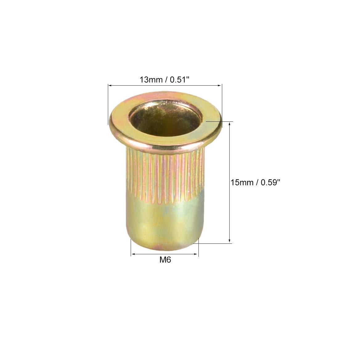 sourcing map Tuercas de remache de acero al carbono M10 tuerca de inserci/ón de cabeza plana chapado de zinc amarillo 30 Pcs