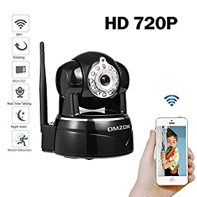DMZOK 720P WiFi Camera, Baby Monitor, Pet Monitor, Pan Tilt Zoom, Night Vision, Two- Way Audio, Remote Access on Smartphones, SD Card Recording(720P)