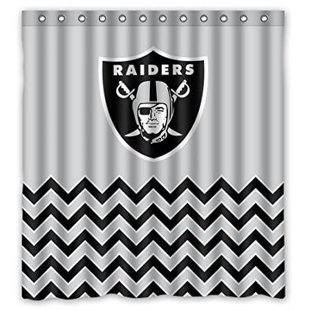 Custom Oakland Raiders Pattern Waterproof Non Mildew Shower Curtains Polyester Fabric Bathroom Curtain 66x 72 Amazoncouk Kitchen Home