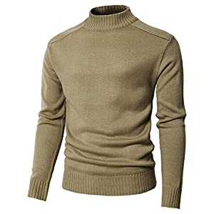 H2H Mens Casual Slim Fit Pullover Turtleneck Sweaters Knitted Long Sleeve Thermal Basic Designed