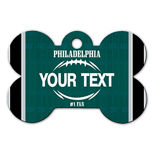 BleuReign(TM Personalized Custom Name Football Philadelphia License Plate Bone Shaped Metal Pet ID Tag with Contact Information