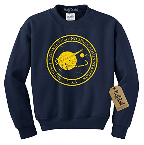 (NuffSaid Vintage NASA Aeronautics Seal Crewneck Sweatshirt Sweater Pullover - Unisex Crew (Large, Navy w/Yellow Ink))
