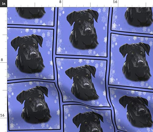 Spoonflower Snowflake Fabric - Black Lab Labrador Retriever Dog Blue Print on Fabric by The Yard - Chiffon for Sewing Fashion Apparel Dresses Home Decor