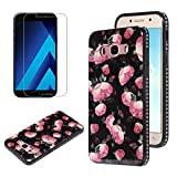 Flower Design Case for Samsung Galaxy J5 2016 J510 with Screen Protector, OYIME Vintage Floral Pattern Hard Plastic Back + Soft Silicone Glitter Rhinestones Frame 2 in 1 New Hybrid Black Cover Thin Slim Fit Protection Shockproof Scratch Resistant Shiny Bling Bumper - Wild Rose
