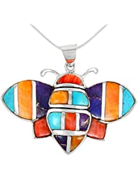 Bee Pendant Necklace in 925 Sterling Silver with Genuine...