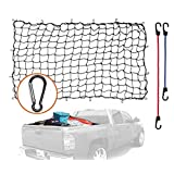 4'x6' Super Duty Bungee Cargo Net Stretches to 8'x12' | 12 Tangle-free D Clip Carabiners | 2 Premium Plastic Coated Metal Hooks for 18 and 24 Inches| For Rooftop Cargo Carrier, ATV, UTV, Cargo Hitc