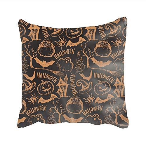 Ranhkdn Pillow Covers Sketch Halloween Print Flax Pillowcase Home Decor Pillow Sham