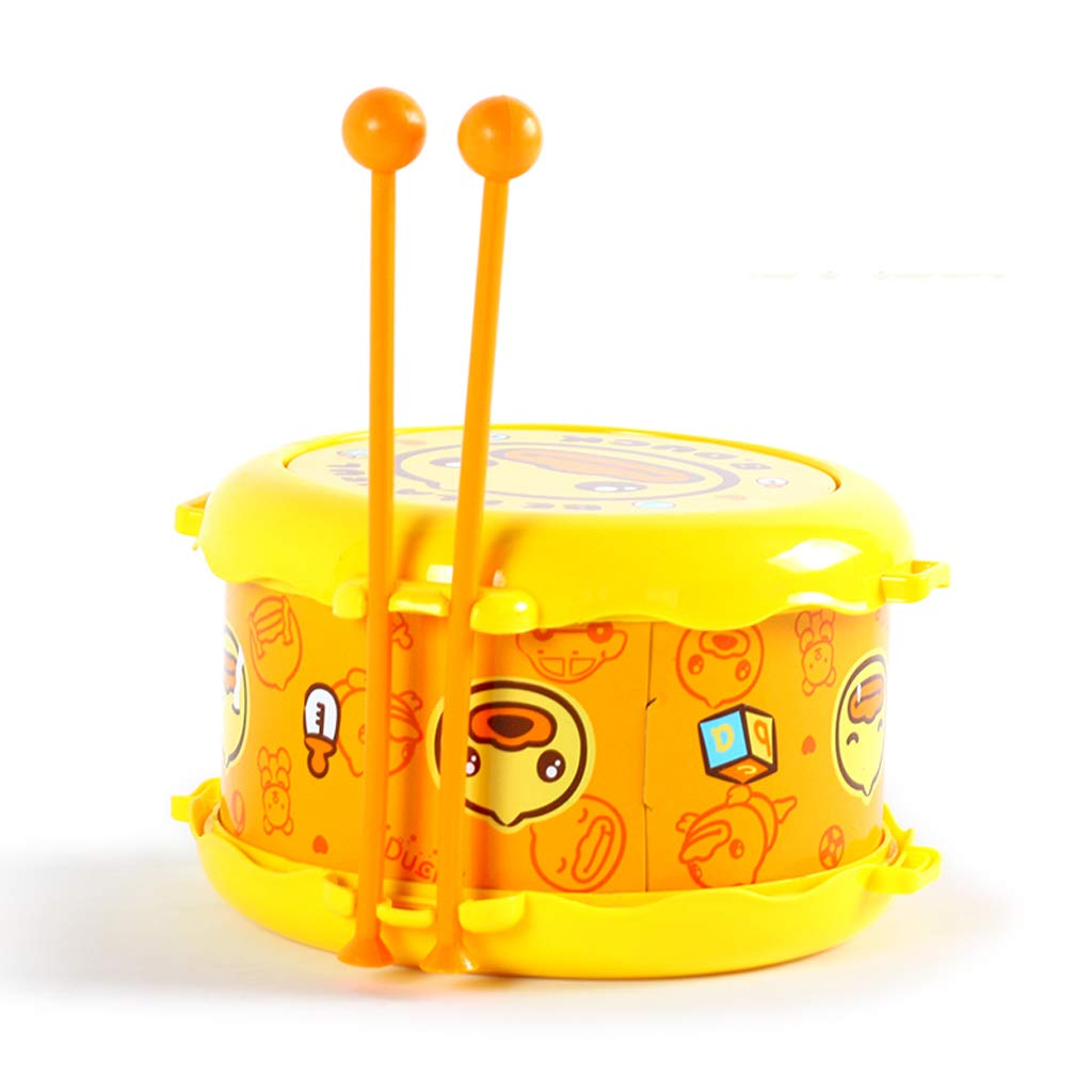 LIPENG-TOY Small Yellow Duck Double-Sided Waist Drummer Drums Children's Drum Music Instrument 18 Months Or More Baby Toys (Color : Yellow)