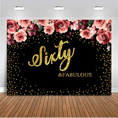 Mocsicka Birthday Party Theme Background Sixty Fabulous Background Gold Dots Decorated Background 8X6ft Vinyl Birthday Photo Studio Photographic Props ()