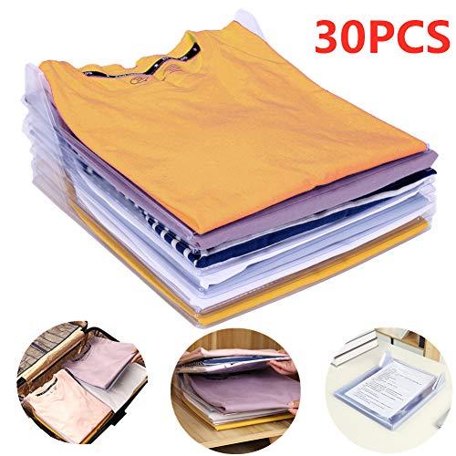 Nšilko Organizador de Armario,Camiseta Carpeta Sistema Antiarruga,tamano Normal (30PCS)