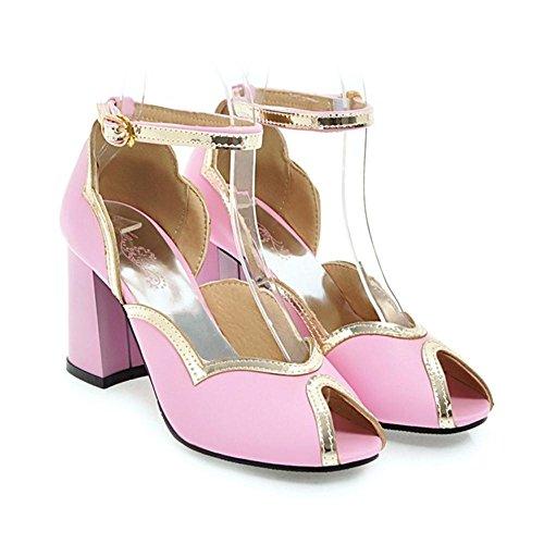 Heels Women Toe Shoes Strap Peep Pink KemeKiss zXwpxqaE