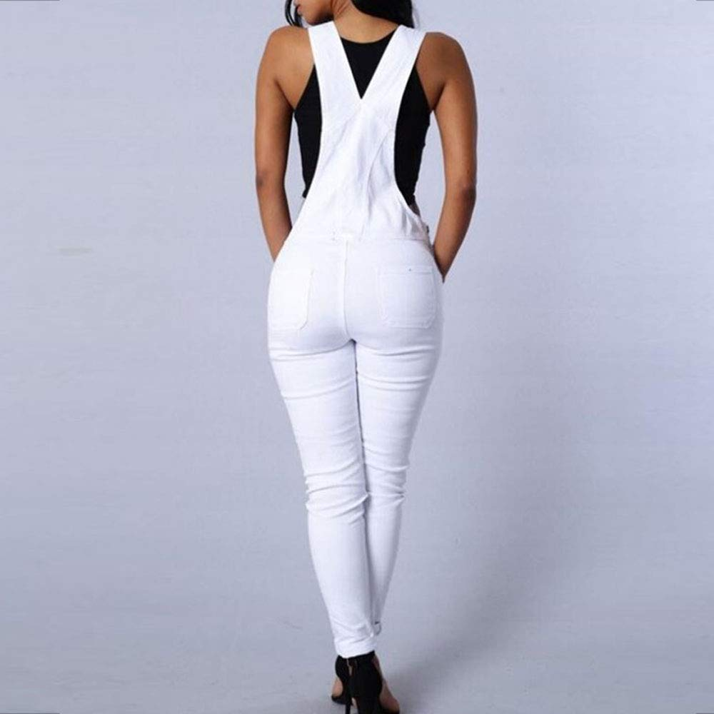 LINGMIN Womens Skinny Front Bib Slim Fitted Overalls