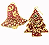 Christmas Ornaments, Tree + Ball, Red and Gold, Handcrafted, Gold Lace & Beads, Set of 2
