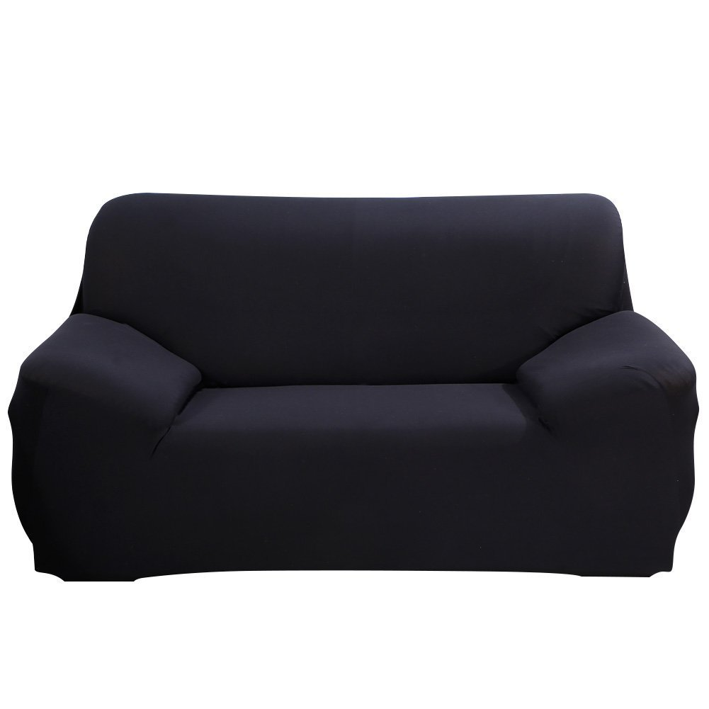 DIFEN Black Loveseat 2 Seater Stretch Elastic Polyester Spandex Slipcover