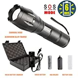 portable truck battery charger - Bright LED Tactical Flashlight with Rechargeable 18650 Lithiumion Battery and Charger, COSOOS Zoomable 5-Mode Waterproof Torch Handlight,Aluminum-Alloy Portable Flashlight Kit,Support AAA Battery