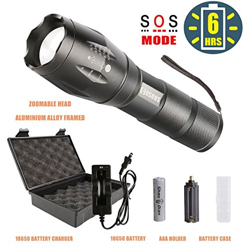 Bright LED Tactical Flashlight with Rechargeable 18650 Lithiumion Battery and Charger, COSOOS Zoomable 5-Mode Waterproof Torch Handlight,Aluminum-Alloy Portable Flashlight Kit,Support AAA Battery