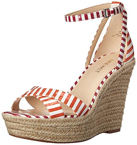 Nine West Women's Joker Synthetic Wedge Sandal, White/Orange/White/Dark Pink, 40 B(M) EU/7.5 B(M) UK